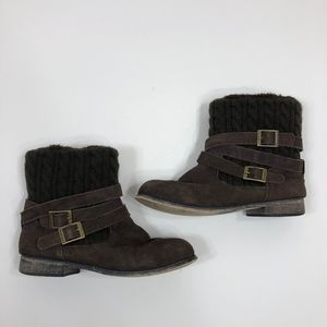 """BearPaw Brown """"Shania"""" Suede and Knit Boot Size 9"""